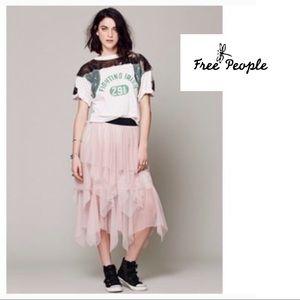 Free People Pink Keep Me Tutu Mesh Asymmetrical